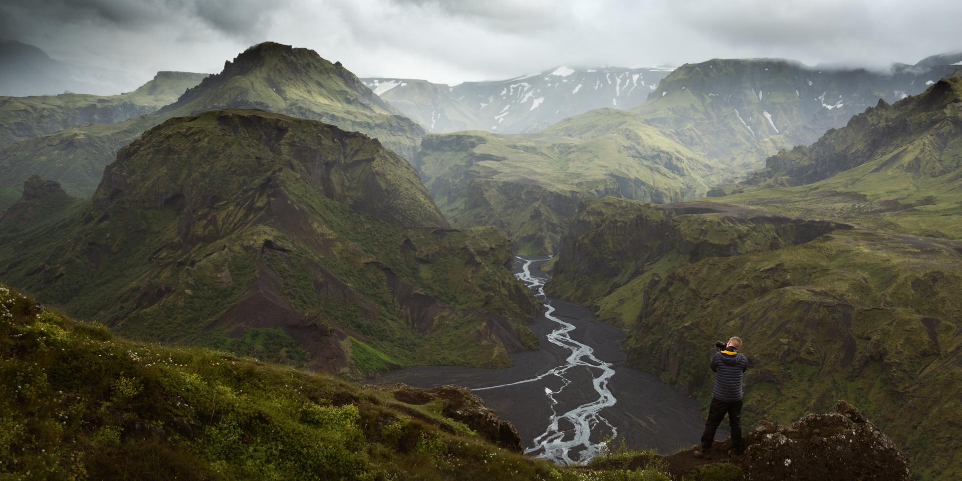 Elliot Hook Landscape Photographer taking photo of icelandic landscape, taken by George Wheelhouse