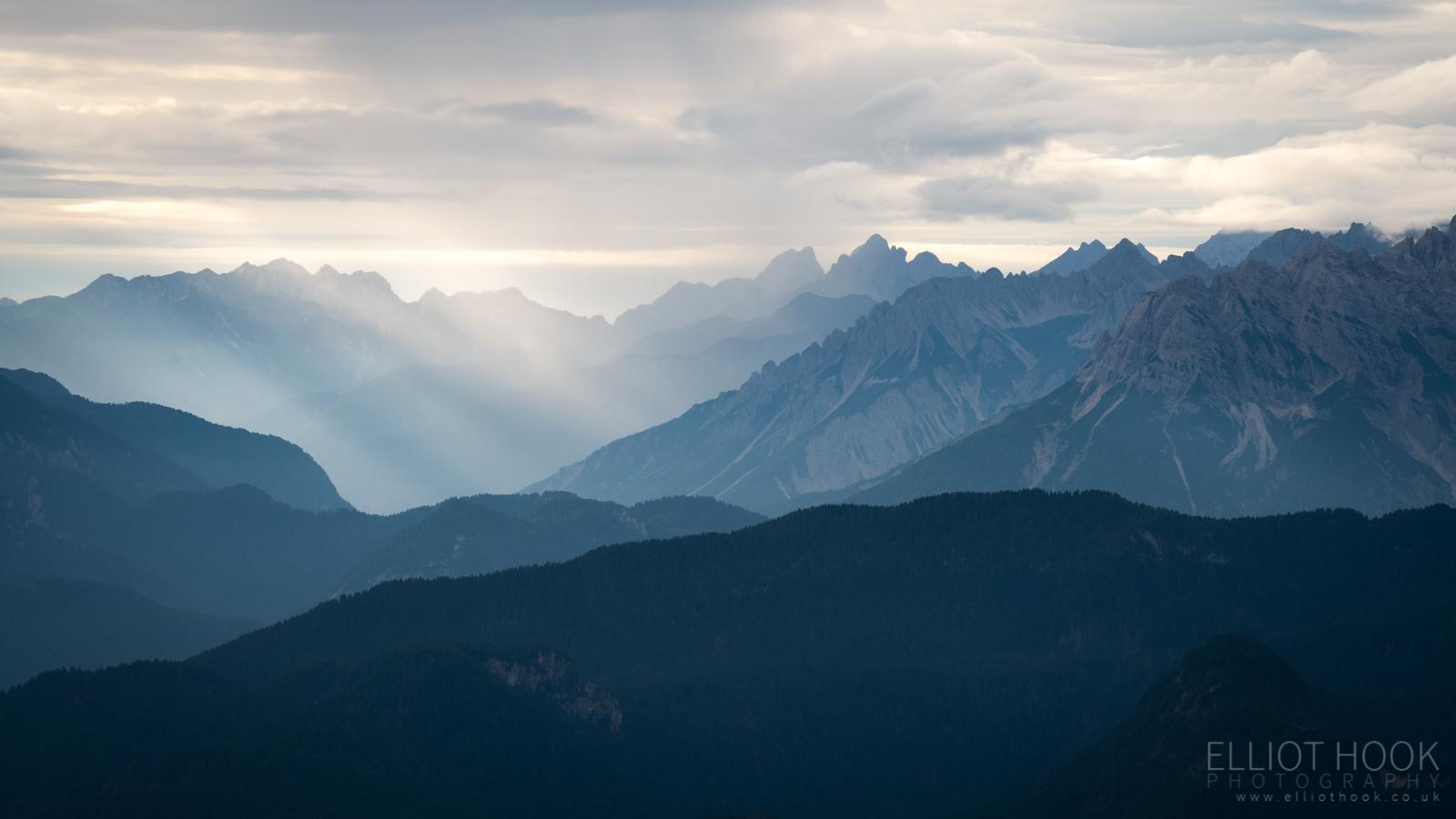 Dolomites Tre Cime valley view towards Auronzo di Cadore
