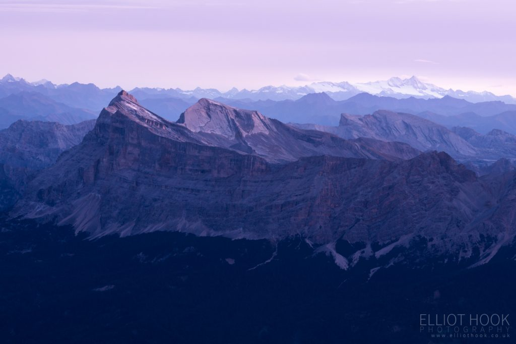 Cima Dieci at twilight taken from Piz Boe in the Dolomites