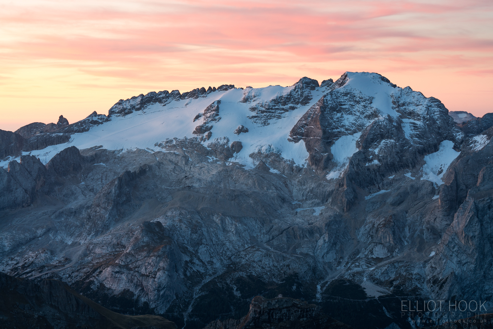 Marmolada before sunrise, taken from Piz Boe in the Dolomites
