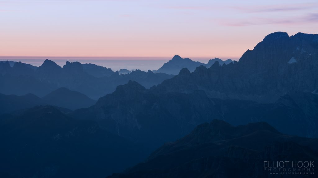 Layered landscape at twighlight, taken from Piz Boe in the Dolomites