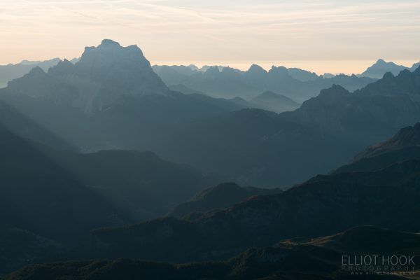 Looking across to Monte Pelmo, from Piz Boe in the Dolomites
