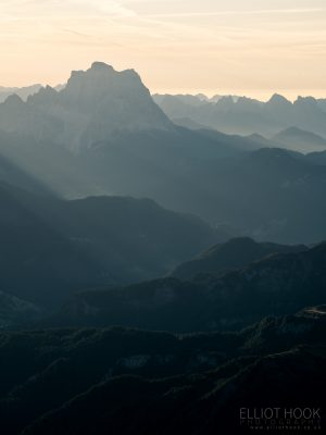Looking across to Monte Pelmo, taken from Piz Boe, in the Dolomites