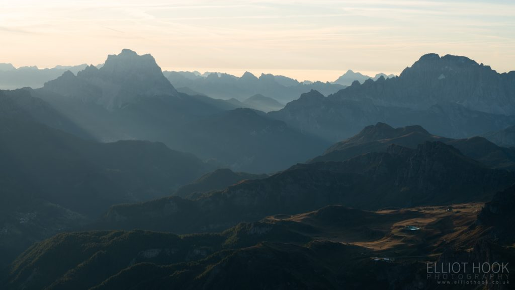 The view from Piz Boe, in the Dolomites