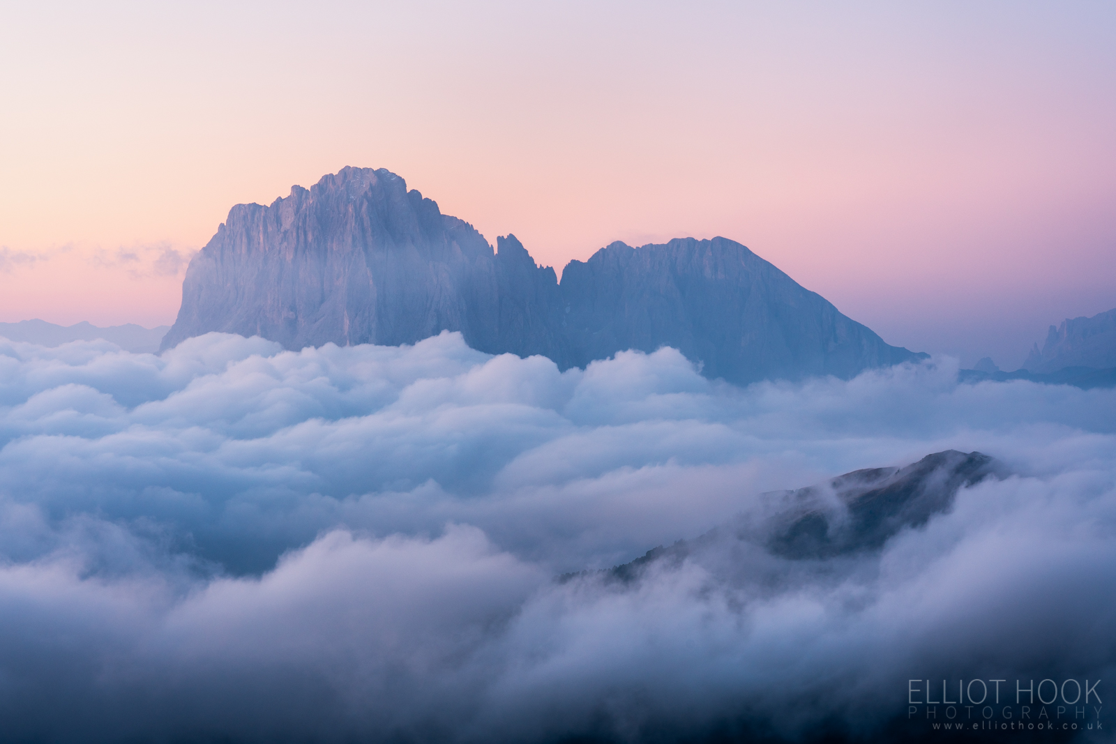 A cloud inversion around the Langkofel group from Seceda, Dolomites