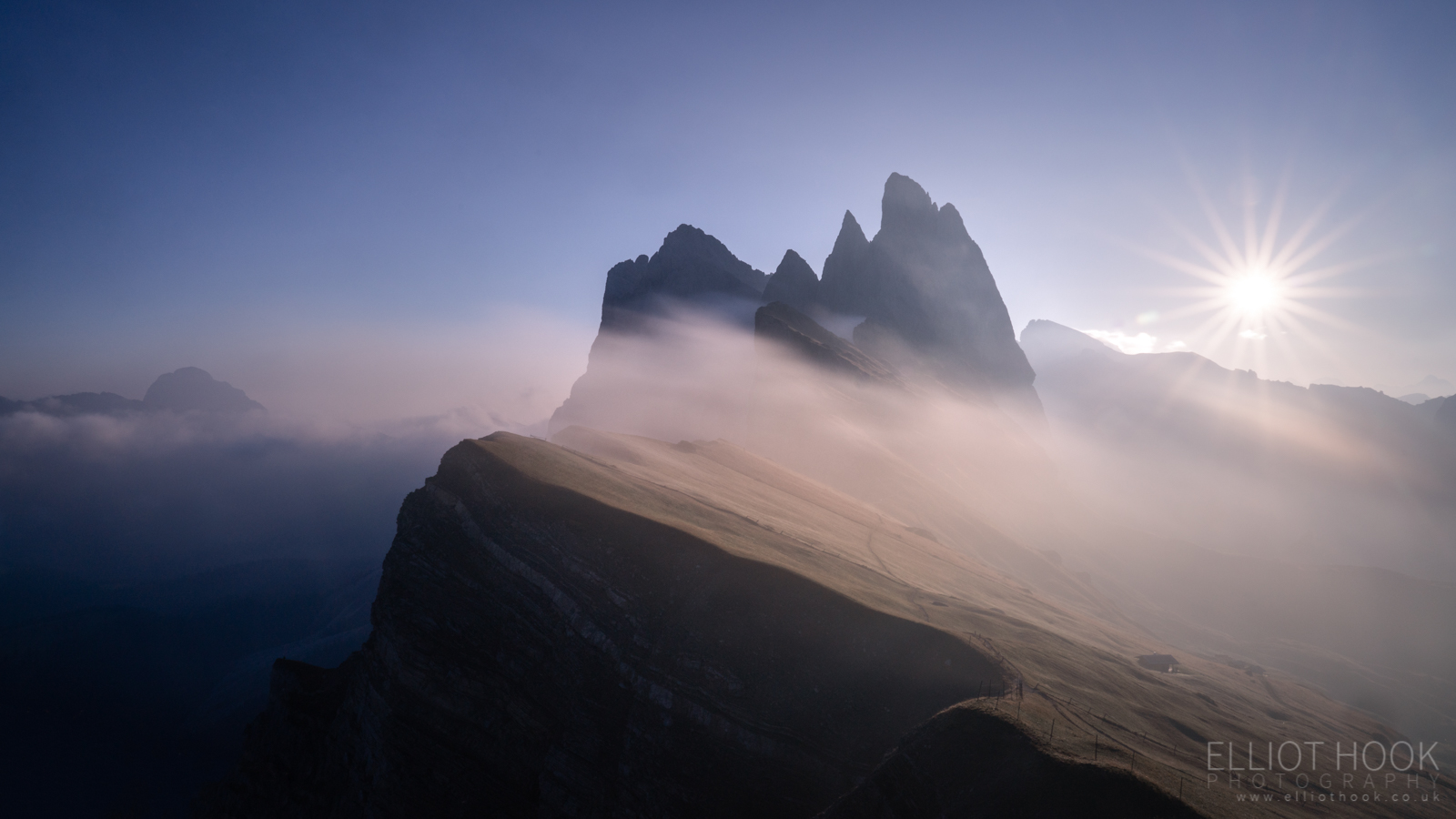 Long exposure of Seceda at sunrise, Dolomites