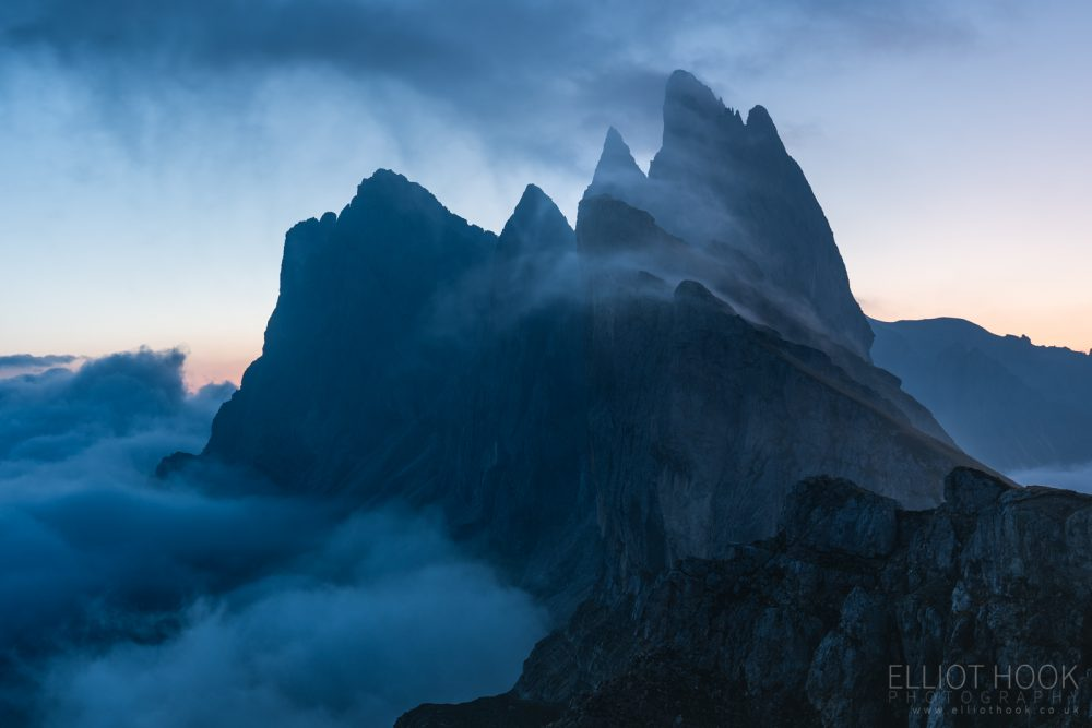Seceda cloud inversion at Twilight, Dolomites