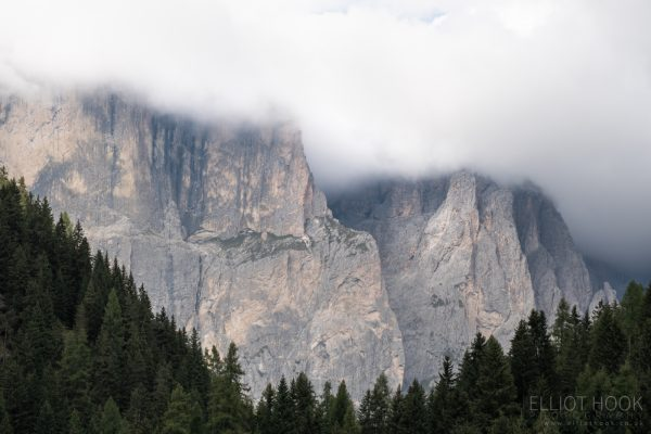 Mountains shrouded in cloud, Sella Pass, Dolomites