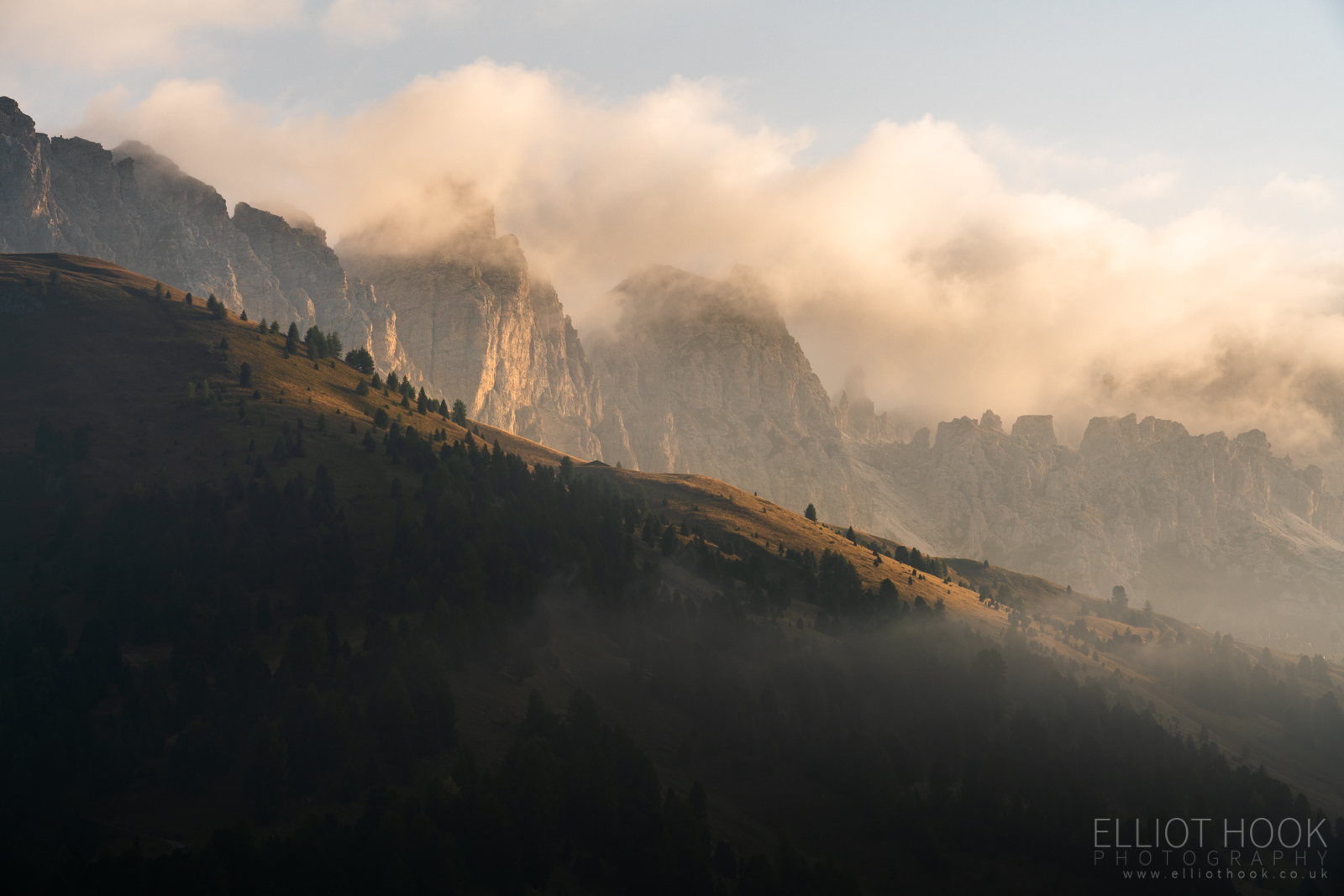 Sunrise over Sella Pass, Dolomites