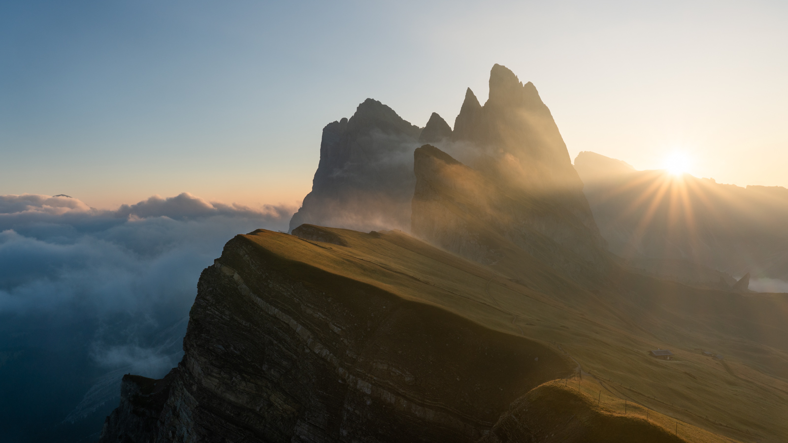 Sunrise over Seceda in the Dolomites