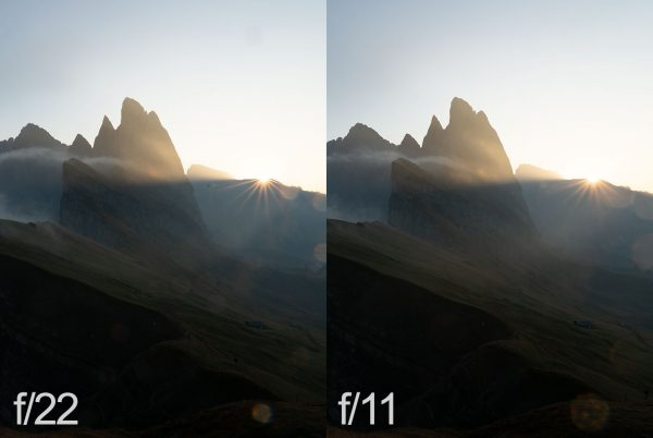 comparison of the sun star and the flare spots at f11 and f22