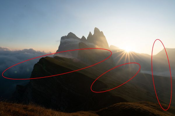 An example of the lens flare across the frame